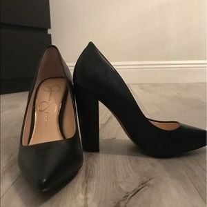 Jessica Simpson pointed toe pumps with thick heel