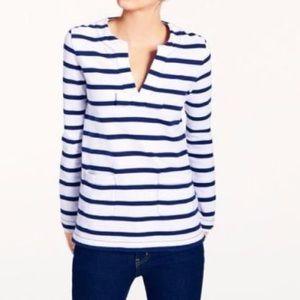 Kate Spade Long Sleeve Striped V-Neck Top