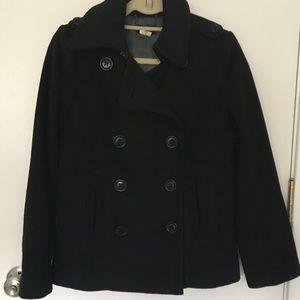 J. Crew traditional pea coat black. Size Small.