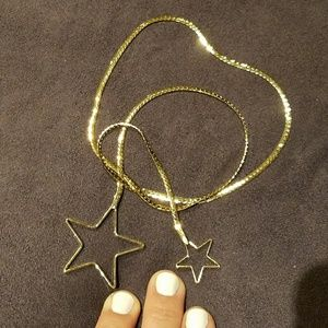 Double gold star necklace lariat