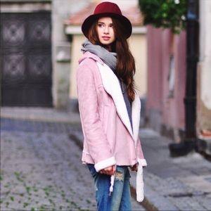 Pink suede jacket. Fur lined snow coat. Sz S