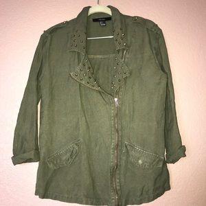 Forever 21 Olive Green studded jacket