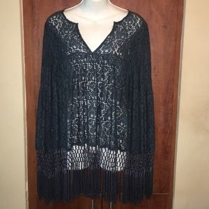 SUGARLIPS Navy Blue Lace Long Sleeve Top