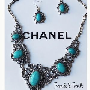 🆕🌸 Turquoise Pewter Statement Necklace Set