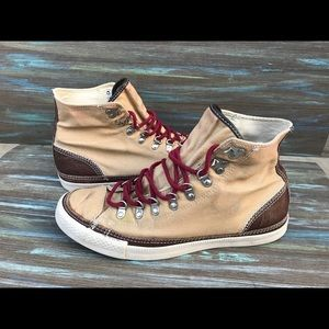 Tan canvas converse with brown leather & red laces