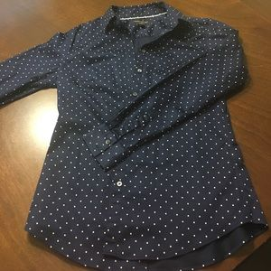 Navy Dot Tailored Fit Button Down Blouse