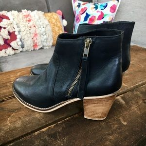 NWOT Urban Outfitters Black Leather Heeled Bootie