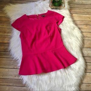 Pink Express peplum blouse with gold zipper