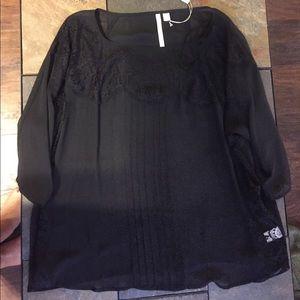 Sheer 3/4 sleeve black blouse
