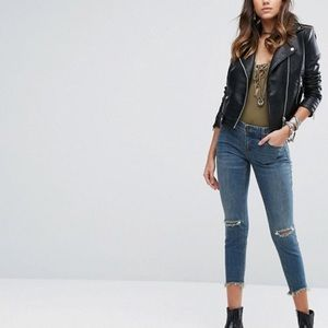 FP Mid-Rise Destroyed Ankle Boyfriend Jeans