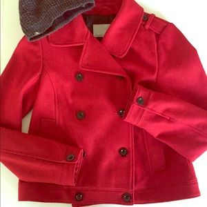 Red Wool Lined Peacoat! ❄️