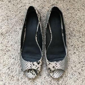 Snakeskin peep toe low heels