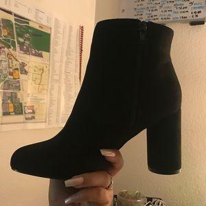 Black booties w/ circular heel