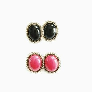 2 FOR 1 Black and Pink Earrings
