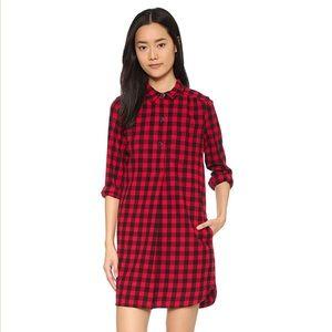 Madewell Jane Red Plaid Flannel Shirtdress XS