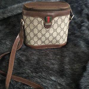 Vintage Brown Logo Gucci Shoulder Binocular Purse