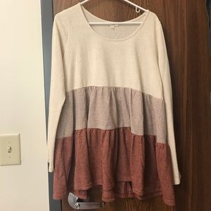 Cream and pink knit top