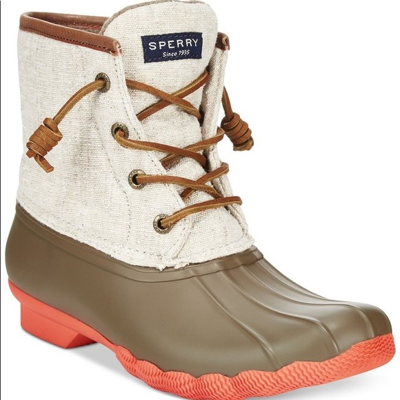 Sperry Coral And Olive Duck Boots No