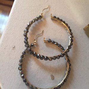 Swarovski Stoned jet hematite hoop earrings