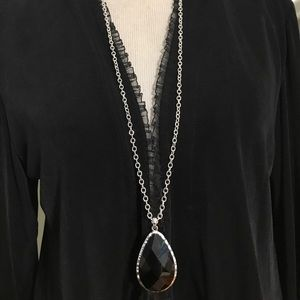 LONG BLACK & DILVER NECKLACE