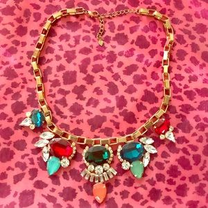 Multi colored jeweled gold unique Necklace