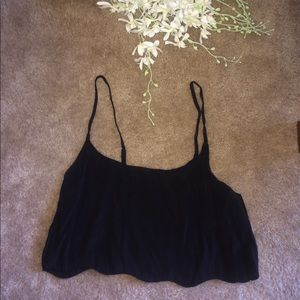 Brandy Melville scalloped Black Crop top NWOT