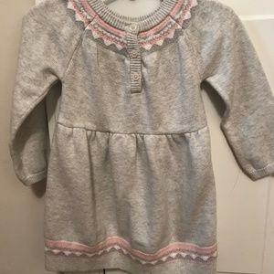 Carter's Baby Girl Sweater Dress 18M Gray/Pink