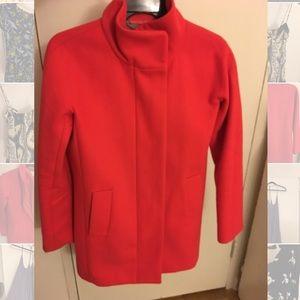 Red Jcrew stadium cloth cocoon jacket