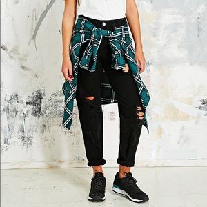 NWT BDG Black Destroyed Slouchy Mom Jean