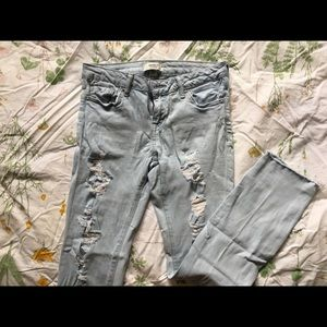 Light Wash Distressed Jeans (Forever 21)