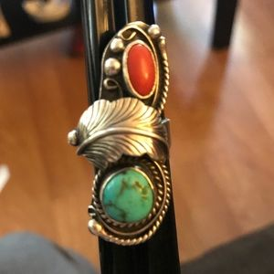 Turquoise and coral silver ring