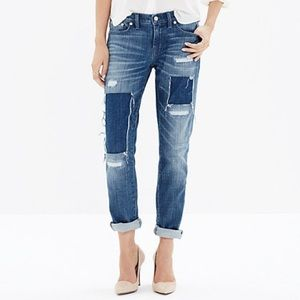 Madewell Slim Boyjean Patched Up Spring Wash NWOT