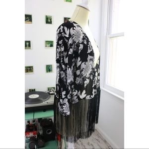 Black & White Fringed Blouse