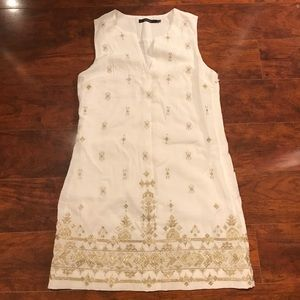 Ark & Co | Ivory & Gold Embroidered Shift Dress