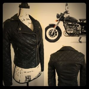 Black Faux Leather Moto Motorcycle Biker Jacket