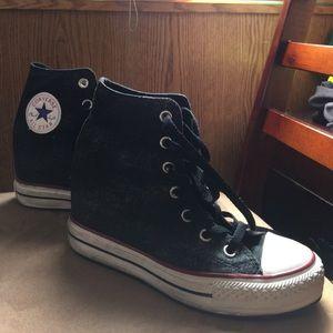 Converse Wedge Black Sneakers Sz 7.5
