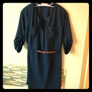 Navy dress with brown leather belt