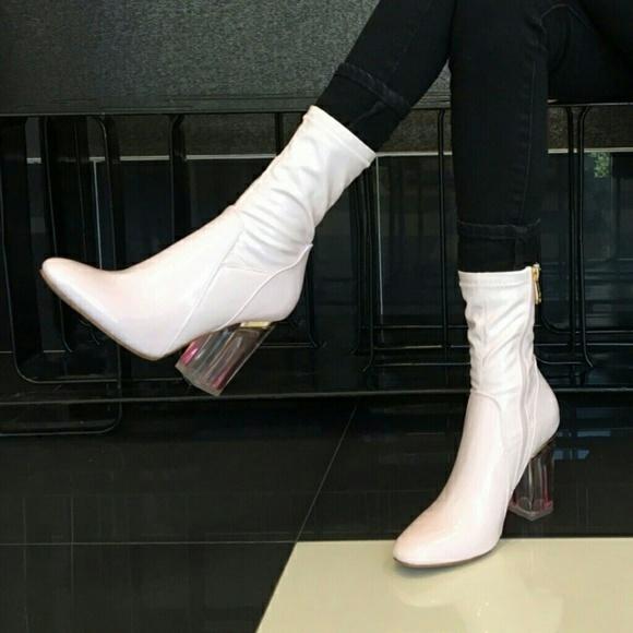 f84c032d126 Pink Patent Clear Heel Booties 6