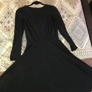 Vintage Black Polyester A Line Dress Small