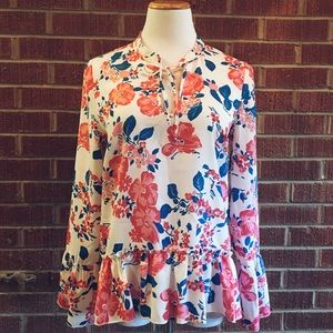 Corsage romantic rose floral frill ruffle top