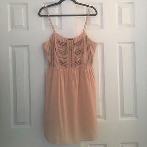 Blush pink beaded mini dress