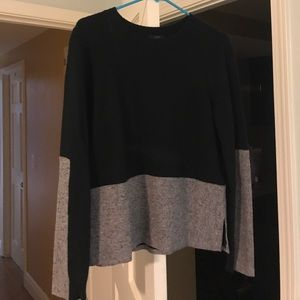 Wool and cashmere black and grey j crew sweater