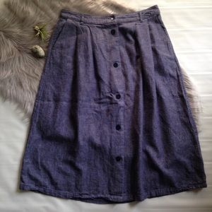 Old Navy denim midi button front casual skirt 8