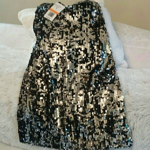 Black and Silver Sequin Strapless Dress NWT