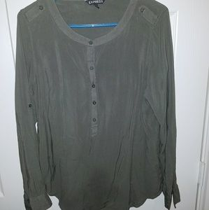 Olive scoop neck roll sleeve blouse from Express