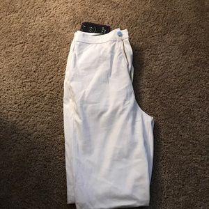 High-waisted skinny white pants