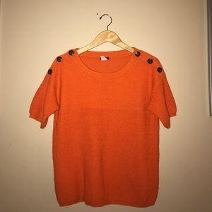 J.Crew Orange alpaca blended button Fall sweater