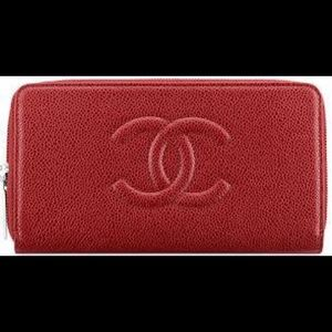 Chanel Timeless Classic SMALL ZIP WALLET Red