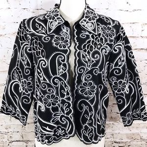 Coldwater Creek Paisley Embroidered Jacket
