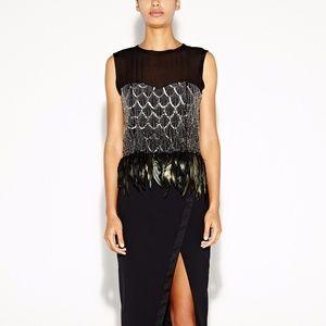 Nicole Miller black embellished feather top